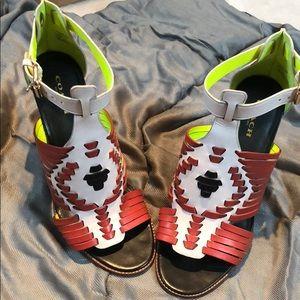 Coach wooden stacked heel